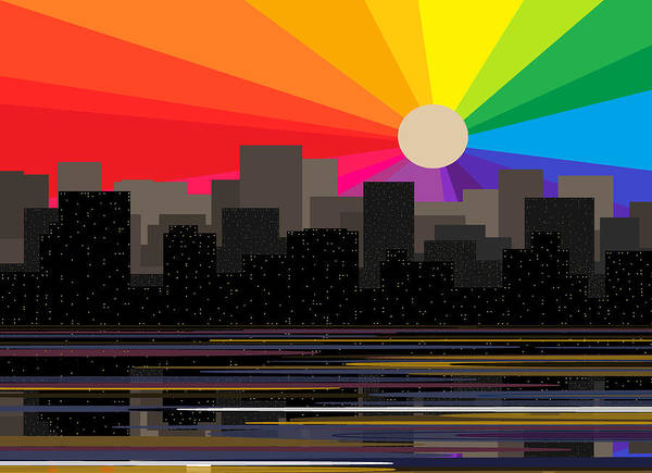 Digital Art - Rainbow Sunrise -  City Skyline by Val Arie