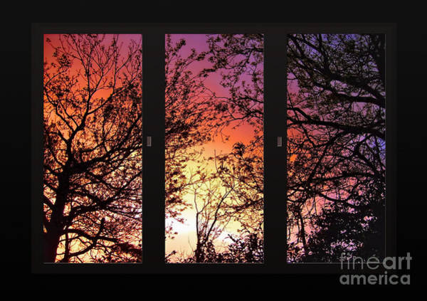 View Through Window Photograph - Rainbow Sunset Through Your Window by Kaye Menner