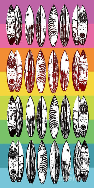 Digital Art - Rainbow Surf Boards by Edward Fielding