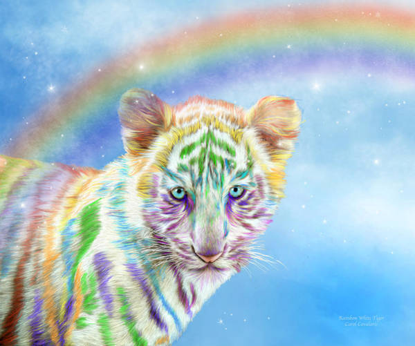 Mixed Media - Rainbow Tiger - Horizontal by Carol Cavalaris