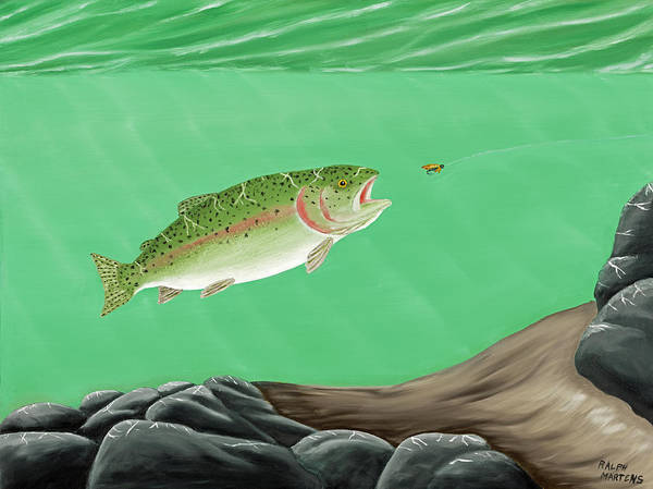 Angler Art Painting - Rainbow Trout - Enticed From The Pool by Ralph Martens