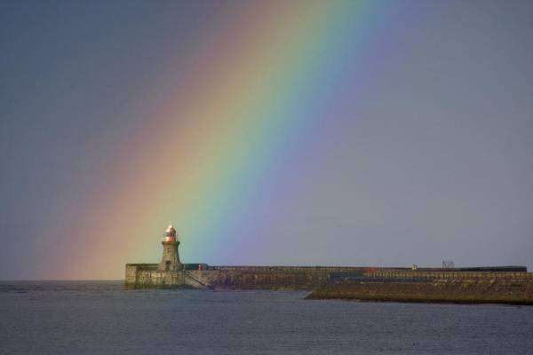Oceanfront Photograph - Rainbow, Tyne And Wear, England by John Short