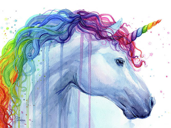 Wall Art - Painting - Rainbow Unicorn Watercolor by Olga Shvartsur