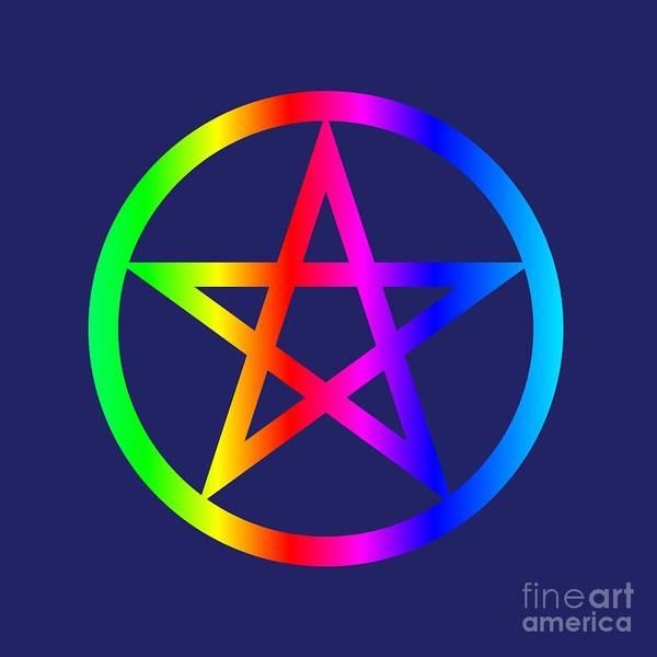 Satanism Digital Art - Rainbow Wiccan Symbol by Frederick Holiday