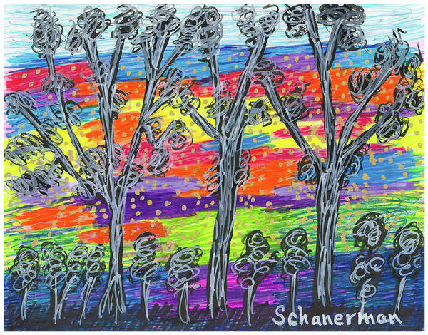 Drawing - Rainbow Woods by Susan Schanerman