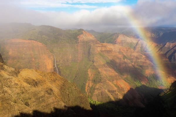 Waimea Canyon Photograph - Rainbows And Waterfalls by Peter Irwindale