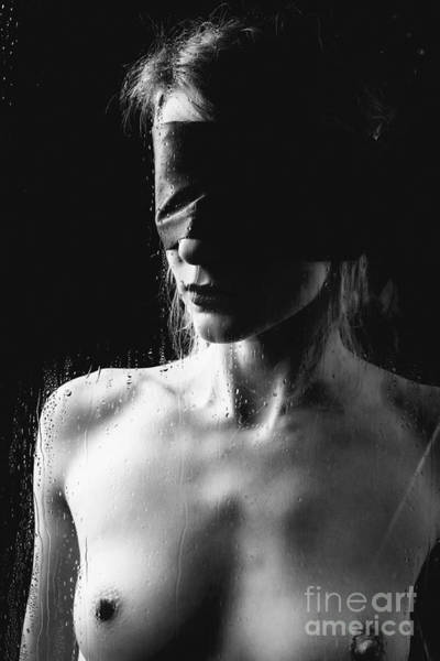 Photograph - Raindrops - Blindfolded Woman Nude Behind A Window by William Langeveld