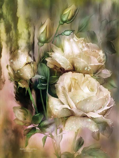 Mixed Media - Raindrops On Antique White Roses by Carol Cavalaris