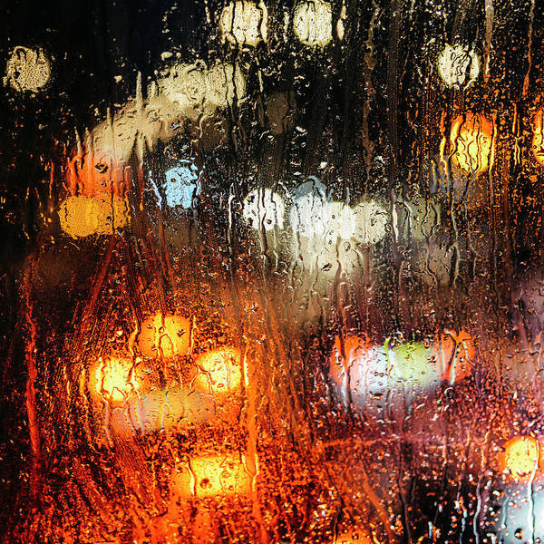 Raindrops On Street Window Art Print