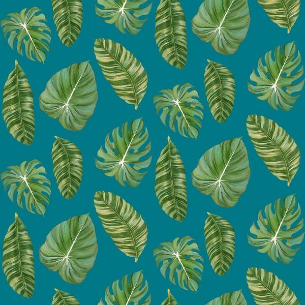 Wall Art - Painting - Rainforest Resort - Tropical Leaves Elephant's Ear Philodendron Banana Leaf by Audrey Jeanne Roberts