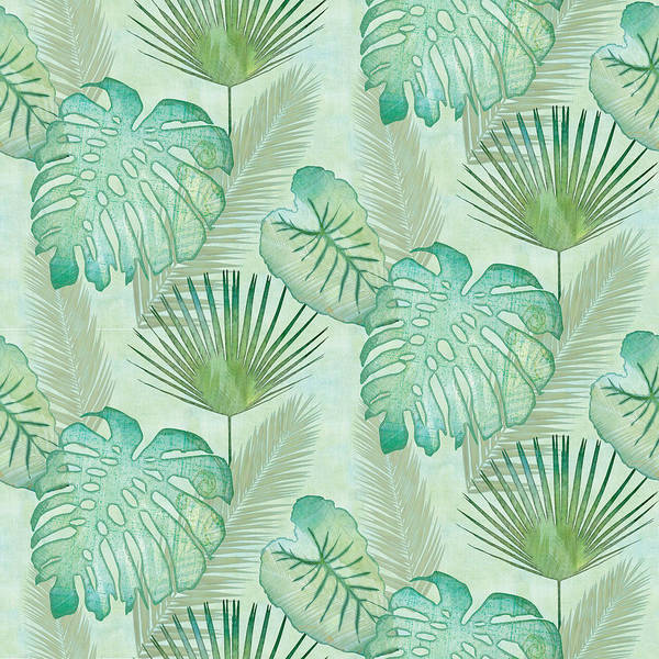 Florida Beach Painting - Rainforest Tropical - Elephant Ear And Fan Palm Leaves Repeat Pattern by Audrey Jeanne Roberts