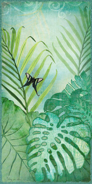 Leaf Painting - Rainforest Tropical - Philodendron Elephant Ear And Palm Leaves W Botanical Butterfly by Audrey Jeanne Roberts