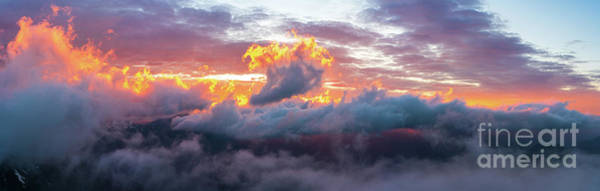 Wall Art - Photograph - Rainier National Park Sunset Clouds On Fire by Mike Reid