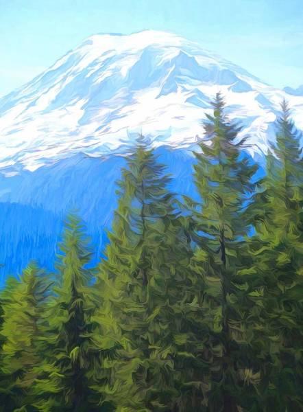 Mount Rainier Painting - Rainier Peak And Evergreens by Dan Sproul