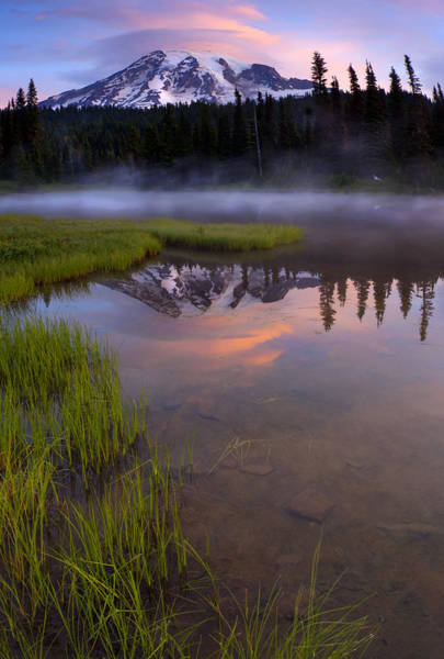Mt. Washington Photograph - Rainier Sunrise Cap by Mike  Dawson