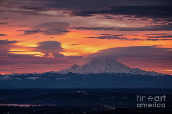 Seattle Skyline Photograph - Rainier Sunrise Lenticular Cloudscape by Mike Reid