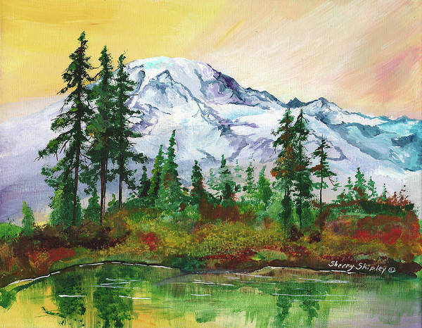 Painting - Rainier Sunrise by Sherry Shipley