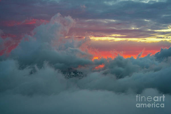 Wall Art - Photograph - Rainier Sunset Fiery Clouds Abstract by Mike Reid