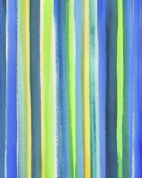 Ultramarine Blue Painting - Raining Blue Yellow And Green by Irina Sztukowski