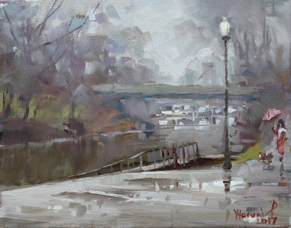 Tonawanda Wall Art - Painting - Raining In Tonawanda Canal by Ylli Haruni