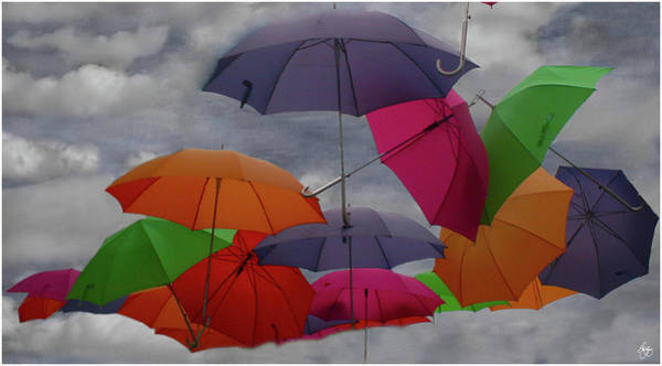Photograph - Raining Umbrellas by Wayne King
