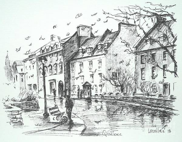 Quebec City Drawing - Rainy Afternoon In Quebec City by Louise Lavallee