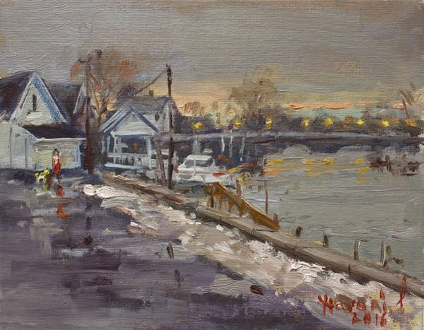 Snowy Wall Art - Painting - Rainy And Snowy Evening By Niagara River by Ylli Haruni