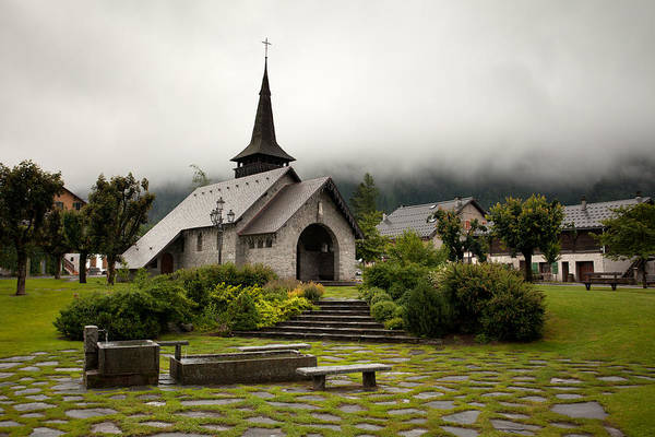 Photograph - Rainy Church In Les Praz, Chamonix by Aivar Mikko