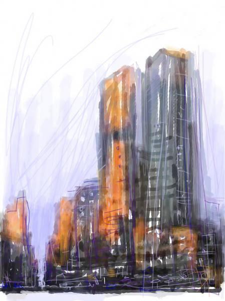 Purple Rain Digital Art - Rainy City by Russell Pierce