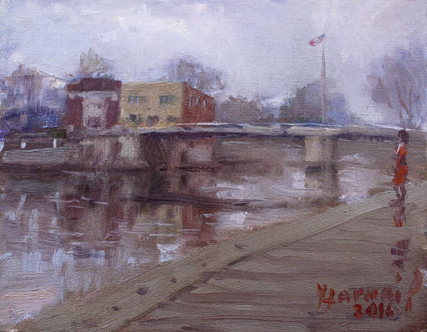 Tonawanda Wall Art - Painting - Rainy Day At Tonawanda Canal by Ylli Haruni