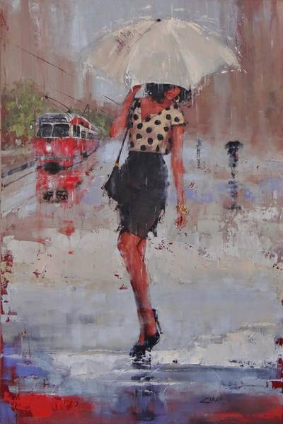 Laura Wall Art - Painting - Rainy Day Blues by Laura Lee Zanghetti