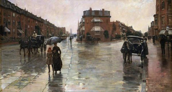 Narrow Street Painting - Rainy Day, Boston 1885 by Childe Hassam