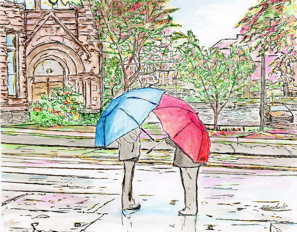 Drawing - Rainy Day In Downtown Worcester, Ma by Michele A Loftus