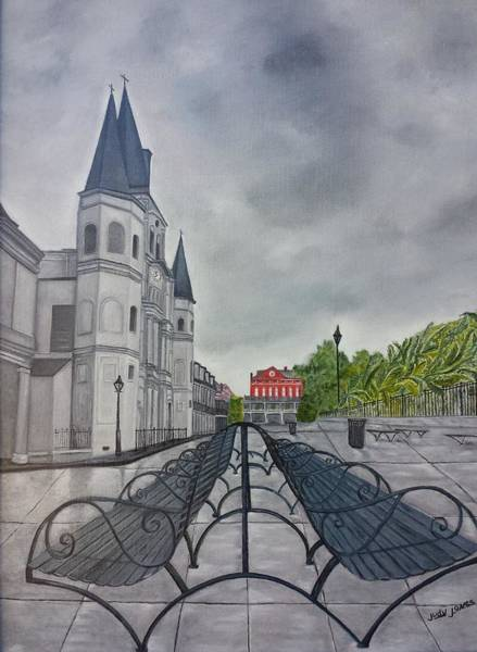 Wall Art - Painting - Rainy Day In Jackson Square by Judy Jones
