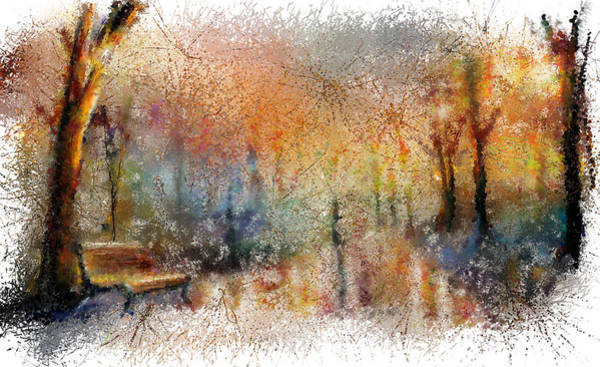 Park Bench Digital Art - Rainy Day In The Park by Renee Skiba