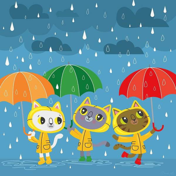 Three Little Kittens Wall Art - Painting - Rainy Day Kitty Cats by Little Bunny Sunshine