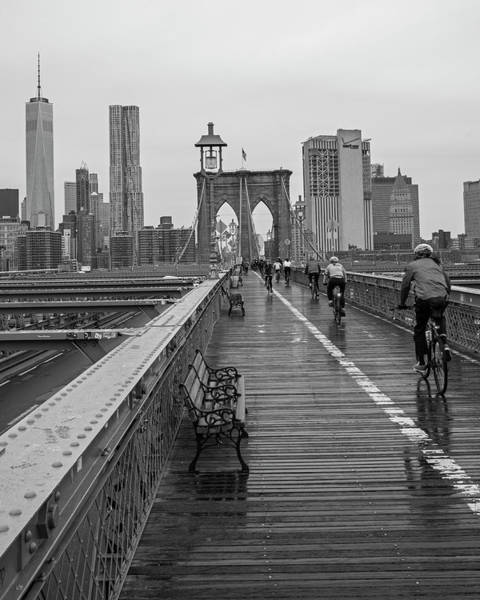 Photograph - Rainy Day On The Brooklyn Bridge Brooklyn New York Bike Race Black And White by Toby McGuire