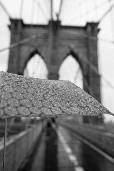 Photograph - Rainy Day On The Brooklyn Bridge Brooklyn New York Cables Umbrella Black And White by Toby McGuire