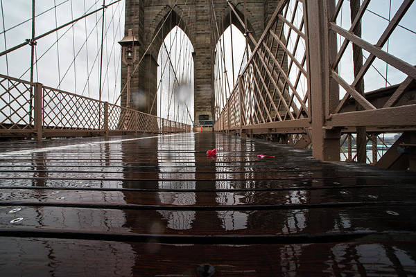 Photograph - Rainy Day On The Brooklyn Bridge Brooklyn New York by Toby McGuire