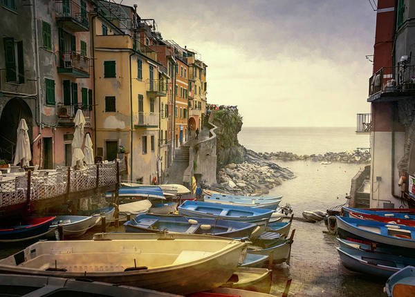 Photograph - Rainy Day Riomaggiore Cinque Terre Italy by Joan Carroll