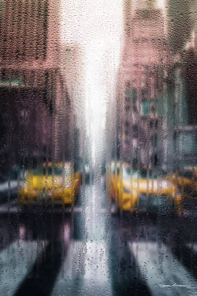 Digital Art - Rainy Days In New York - The Yellow Taxicabs by Serge Averbukh