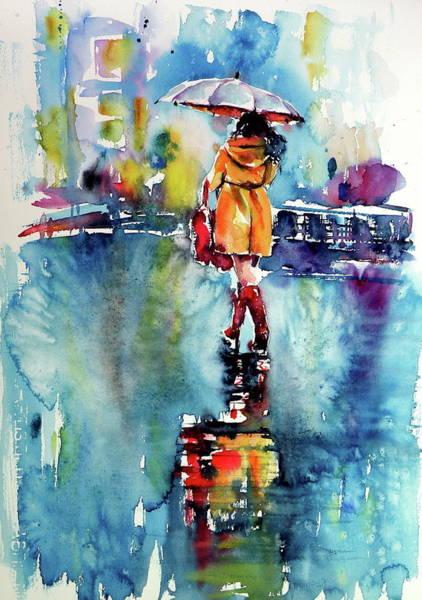 Winter Walk Painting - Rainy Days - Perfect Gift Idea by Kovacs Anna Brigitta