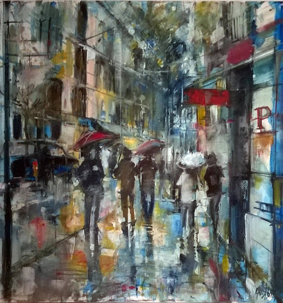Painting - Rainy Downtown. by Lorand Sipos