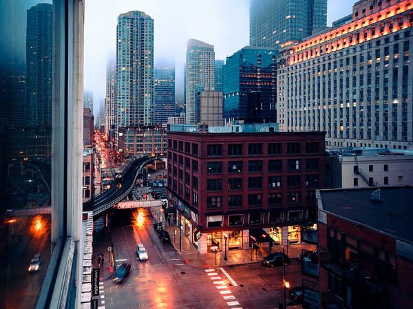 Photograph - Rainy Foggy Chicago by Nisah Cheatham
