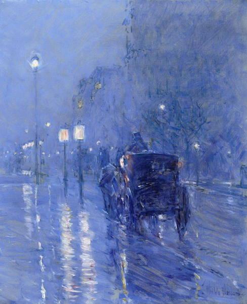 Narrow Street Painting - Rainy Midnight Late 1890s by Childe Hassam