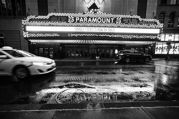 Photograph - Rainy Night At The Paramount Boston Ma Washington Street Black And White by Toby McGuire