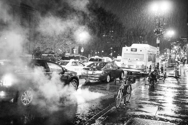 Photograph - Rainy Night In Boston Ma Steamy Street Black And White by Toby McGuire