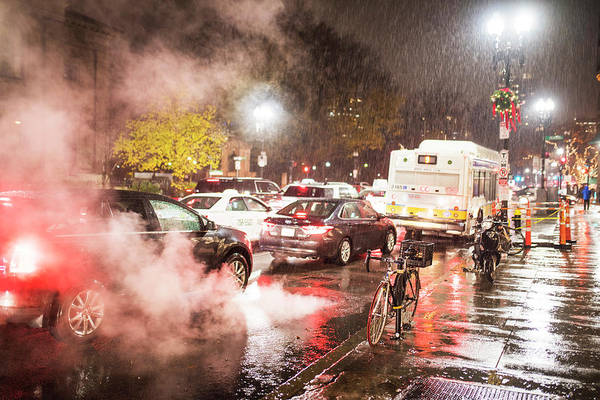 Photograph - Rainy Night In Boston Ma Steamy Street by Toby McGuire