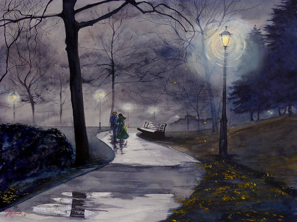 Drawing - Rainy Night In Central Park by Jill Westbrook