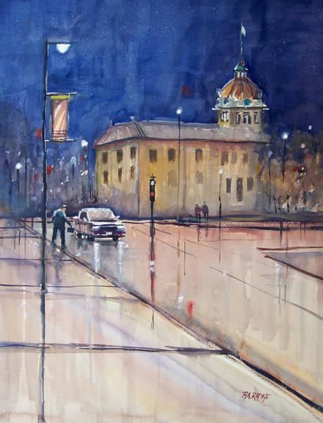 City Scene Painting - Rainy Night In Green Bay by Ryan Radke